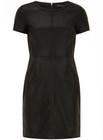 Black leather look dress - Dresses  - Clothing