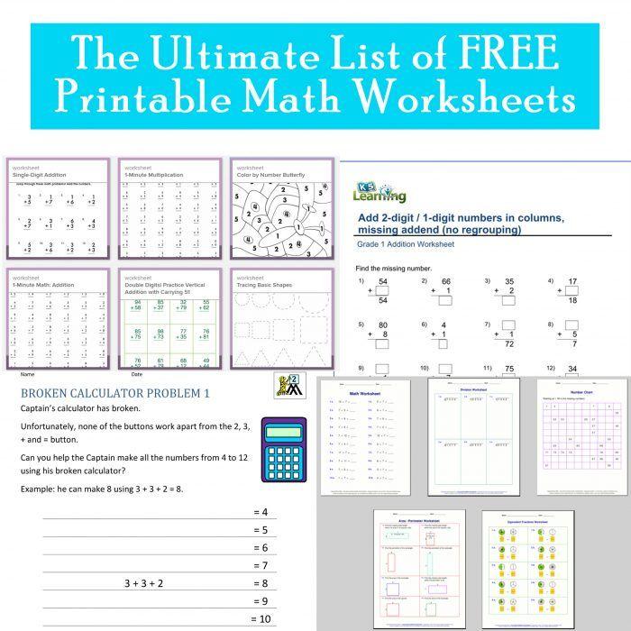 Free Printable Elementary Math Worksheets Printables 4 Mom Free Printable Math Worksheets Math Worksheets Printable Math Worksheets