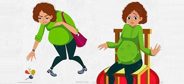 Δείτε τις πιο χαρακτηριστικές στιγμές της εγκυμοσύνης, που όλες οι μανούλες έχουν περάσει, μέσα απόδώδεκα αστεία σκίτσα.