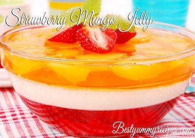 Strawberry Mango Jelly With Cream - this looks so refreshing and I would eat it as dessert.