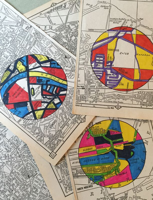 Circle doodles on an old 70's London A-Z. One of many everyday doodle experiments featured on my blog, 'A roll of tape and a biro'.