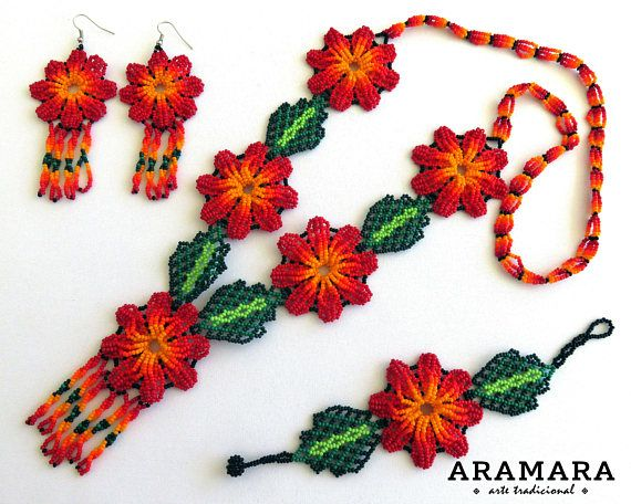 Dimensions The diameter of each flower is 2 inches (5.08 cms) Necklaces length is 18.2 inches (46.22 cms) Bracelets length is 7.5 inches (19.05 cms) Earrings length is 4 inches (10.16 cms) The Huichol represent one of the few remaining indigenous cultures left in Mexico. They live in