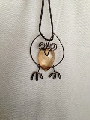 Owl necklace – Beveled, teardrop shaped plastic bead and chocolate brown wire