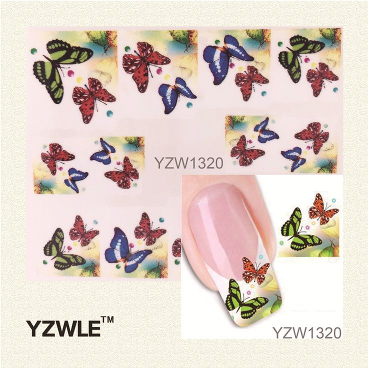 YZWLE 1 Sheet Water Transfer Nail Art Sticker Decal Multi Color Butterfly Design Half Wraps French Manicure Tools-in Stickers & Decals from Health & Beauty on Aliexpress.com | Alibaba Group