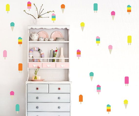 An ice cream wall wall decal 6 color ice cream decal 50 colorful ice cream pattern kids room decal nursery decal home decor gift