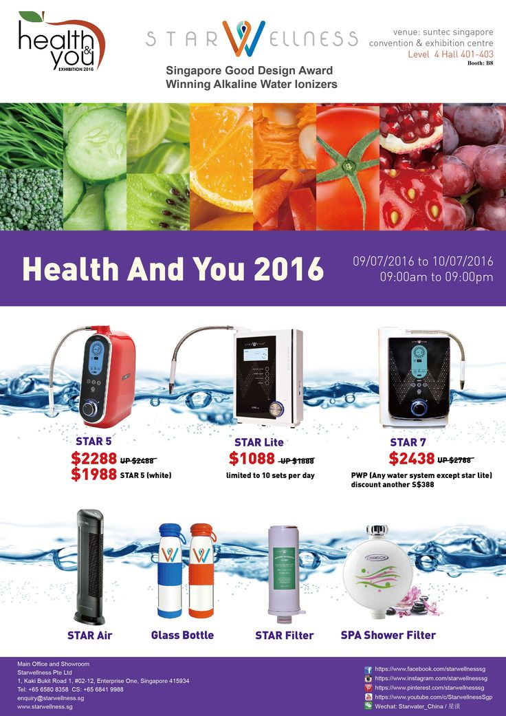 Mark your calendar this coming 9- 10 of July 2016 (9am to 9pm) as Starwellnesssg participates HEALTH & YOU EXHIBITION 2016 located at Suntec Singapore Convention and Exhibition Centre. Visit our booth located at Level 04 Hall 401-403 Booth: B8 and avail our Starwater products at the lower price! See you there! ‪#‎starwellnesssg‬ ‪#‎healthyliving‬ ‪#‎betterliving‬ ‪#‎sgexhibition‬ ‪#‎healthandyouexhibition2016‬