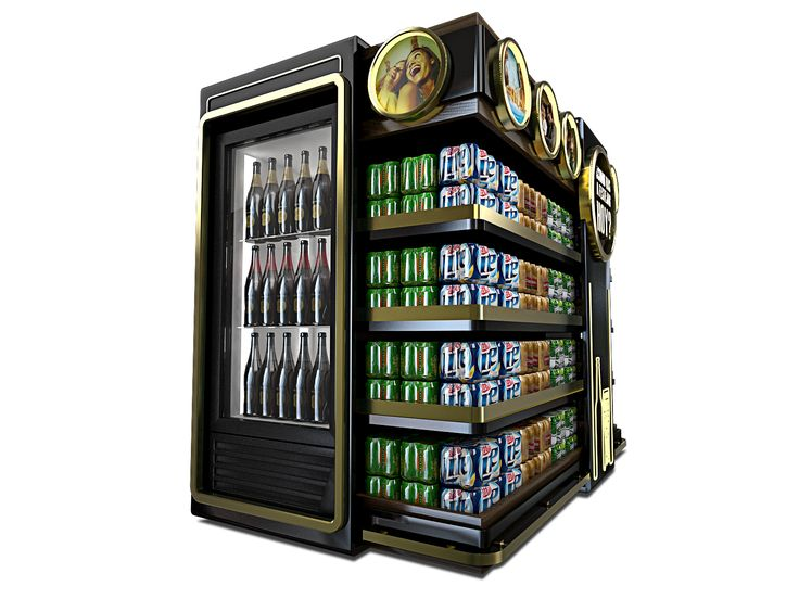 Mueble para segmentación de cervezas premium en punto de venta.