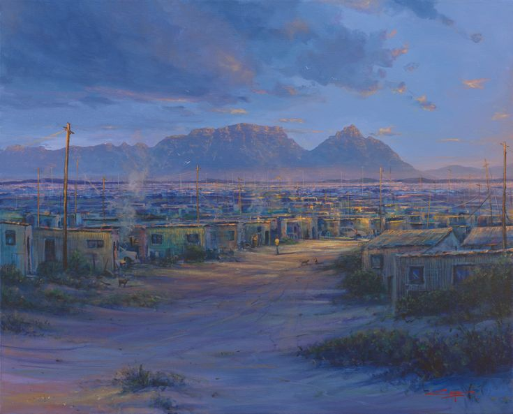 Painting of Kayalesha with Table Mountain in the background