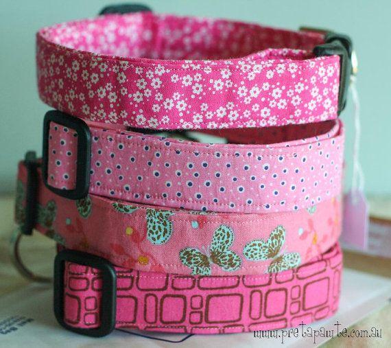 Large Dog Collar  Pink by PretaPawte on Etsy, $26.00