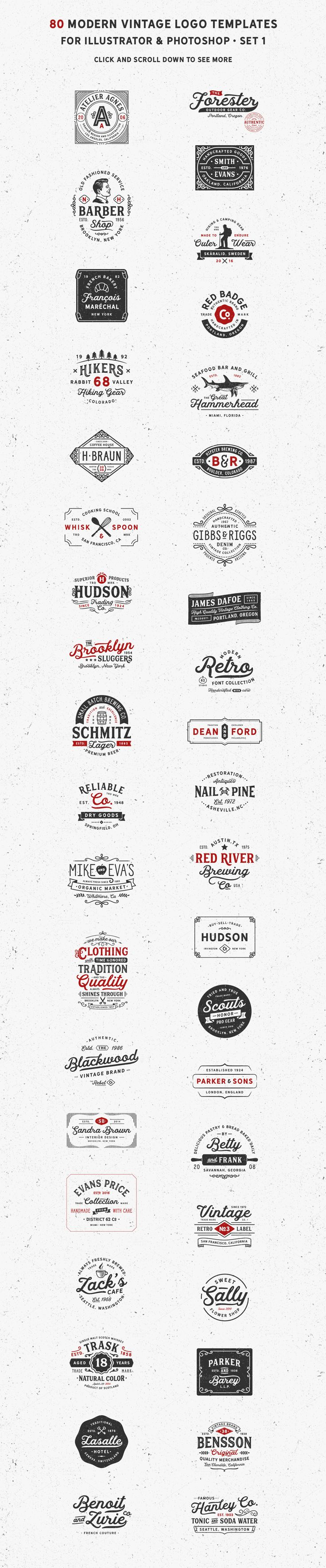 80 Modern Vintage Logos by DISTRICT 62 studio on @creativemarket