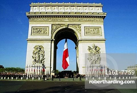 Veterans Parade for Remembrance Day at the Arc de Triomphe in Paris, France