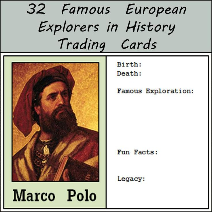 Looking for a way for your students to discover facts about some of the famous European explorers in history? Here is a way your students can discover these historic figures that allows them to find out some basic facts, but also allows them identify what they think is important about each person. Each trading card has the same format and allows students to gather a very brief snapshot of who these people were and what they did that contributed to the history of the world.