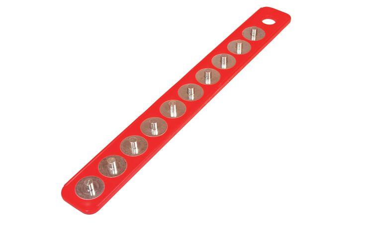 3/8 In. Drive 2 In. x 15-5/8 In. Red Magnetic Socket Holder Strip