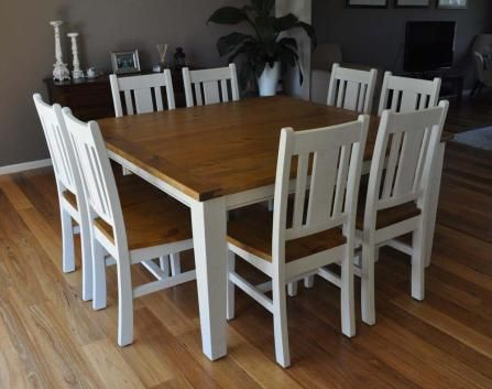 LEURA 8 SEATER SQUARE TIMBER DINING TABLE & CHAIRS SETTING IN DISTRESSED WHITE BAYGALDS337
