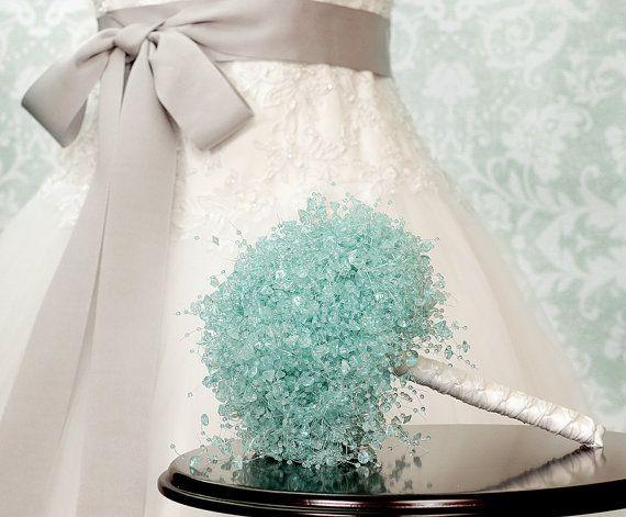 Wedding Bouquet - Aqua Blue Beaded Bridal Bouquet - Wedding Bouquets - Something Blue - Fabulous Brooch Bouquet Alternative