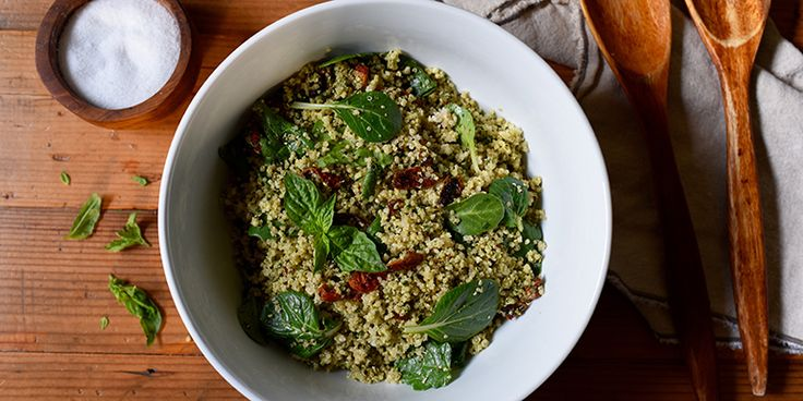 This Quinoa with Sun-Dried Tomatoes and Pesto recipe is basically a bowl of superfood that tastes incredible. It's perfect for a potluck or office lunch.