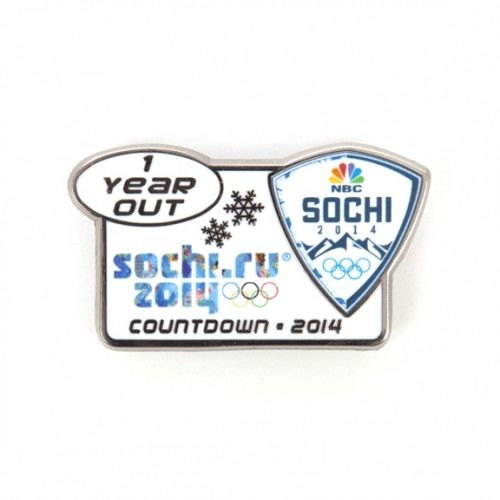 2014 Olympics 1 Year Out Sochi Shield Pin #NBC $12.00