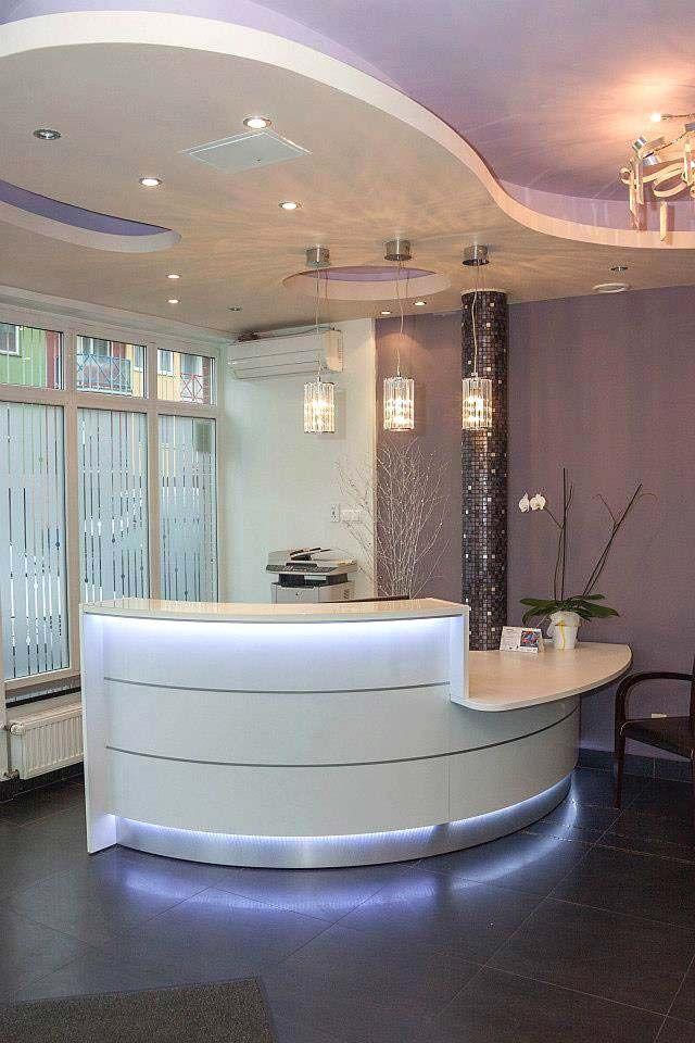 curved white reception desk - Salon Reception Desk