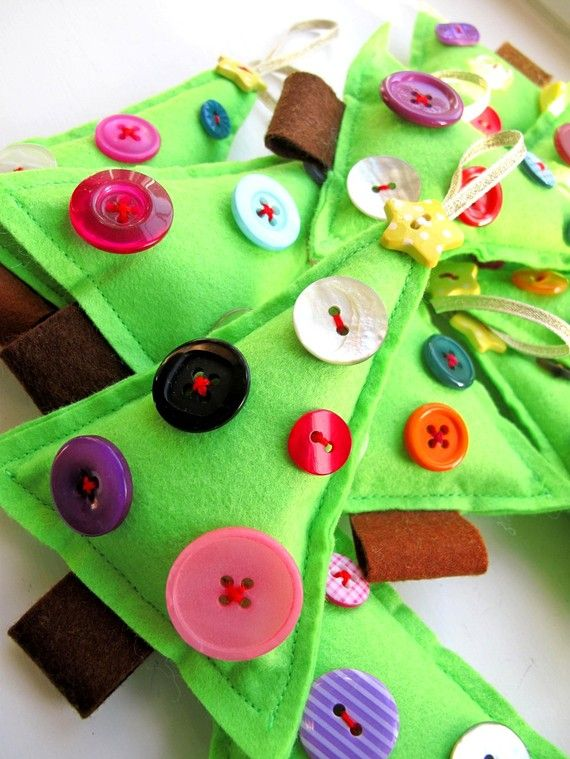 Christmas Decoration Felt Tree dipped in buttons