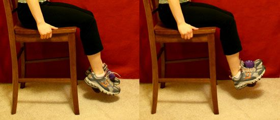 Exercise to help Shin Splints     Sit on a high bench or chair. It should be tall enough so your toes can point without touching the floor.  Place a two- to six-pound dumbbell vertically in between your feet, squeezing the weight gently to keep it in place.  Begin by pointing your toes toward the floor. Then flex your feet and lift your toes as high as you can. This is one repetition.  Complete three sets of 12 reps, stretching your shins with the Kneeling Shin Stretch in between each set.
