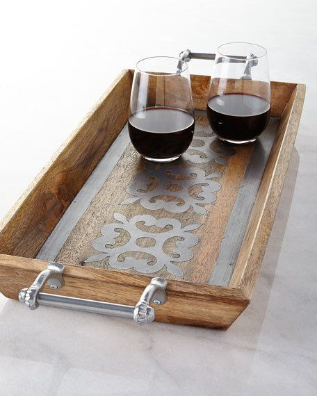 G G Collection Wood Tray with Metal Inlay