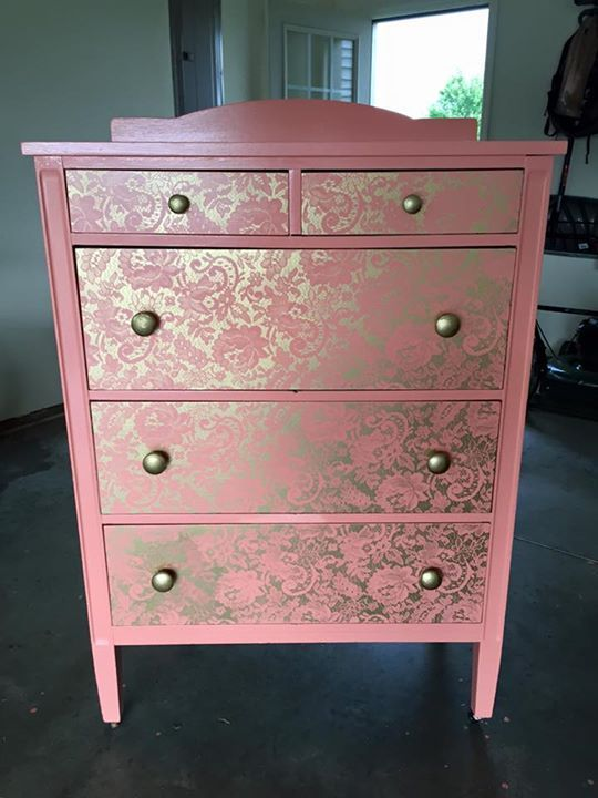 Repainting a dresser with lace