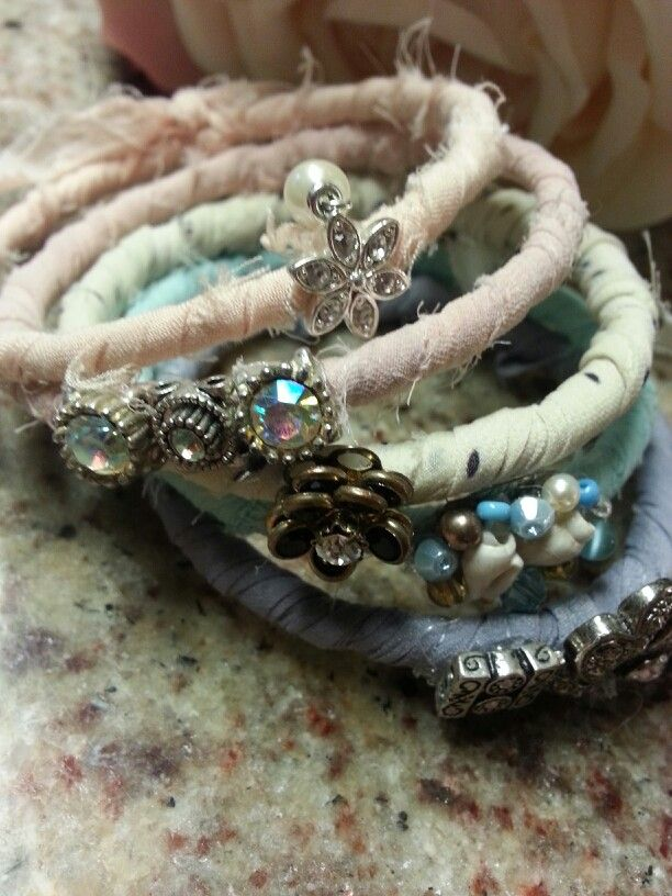 DIY Bohemian Bracelets-frayed fabric wrapped adorned with vintage and costume bling