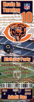 CHICAGO BEARS TICKET STYLE INVITATIONS (WITH ENVELOPES)
