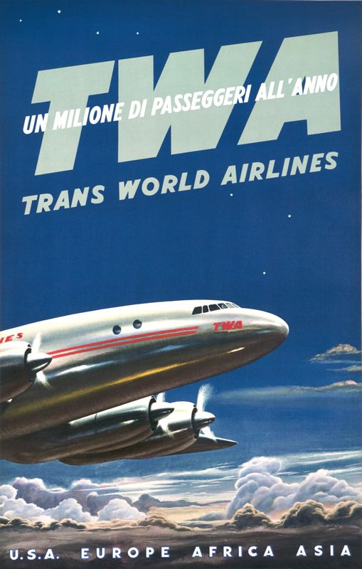 TWA Un Milione di Passeggeri all'Anno (A Million Passengers every Year) by Artist Unknown | Vintage Posters at International Poster Gallery