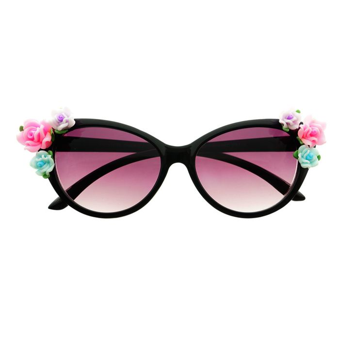 Cute Flowers Designer Fashion Style Retro Cat Eye Sunglasses C88