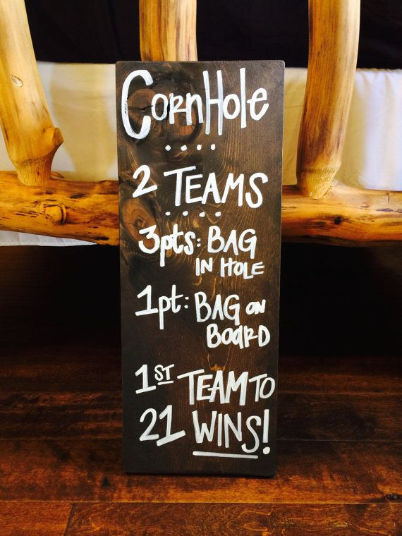 CORNHOLE Rustic Distressed Wood Wedding Gameday by SisterSignGypsy