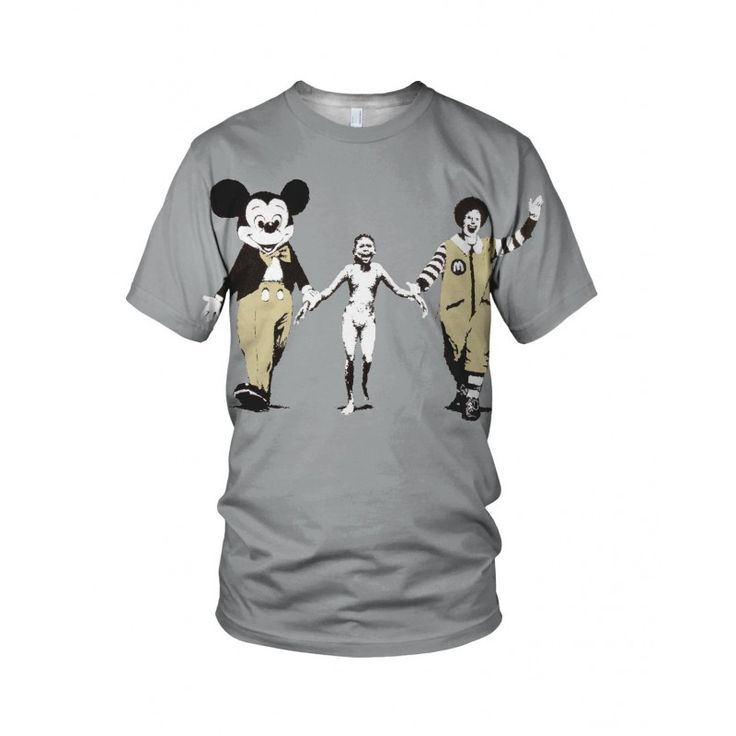 """Ronald McDonald And Mickey Mouse, from the collection of """"Hand Printed"""" Designs by the prolific street artist known as """"Banksy"""".   More Designs and Styles on the Store: http://www.globalmusicollective.com/store/?product_cat=banksy"""