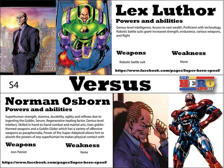 As these two evil geniuses face off in cybernetic suits who will be the last man standing? Lex Luthor vs Norman Osborn! WHO WILL WIN, and why? Powers, abilities, weaknesses, and weapons are posted. #superherospoof