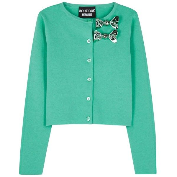 Womens Cardigans Boutique Moschino Turquoise Embellished Wool Blend... (28.465 RUB) ❤ liked on Polyvore featuring tops, cardigans, green cardigan, turquoise top, green top, turquoise cardigan and embellished tops