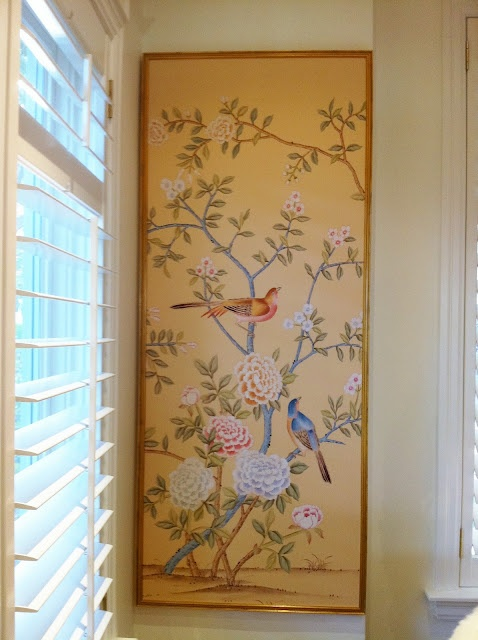 Griffin and Wong hand painted silk chinoiserie framed