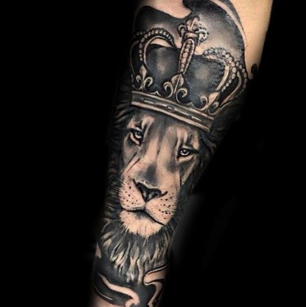 Lion Wearing Crown Male Forearm Tattoo Sleeves