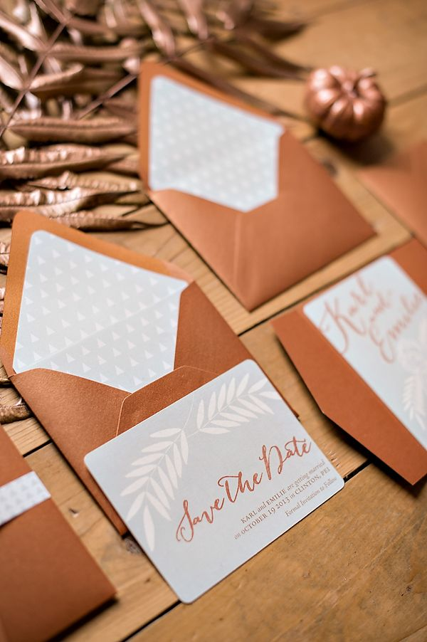 @palomablancawed Bronze wedding invites