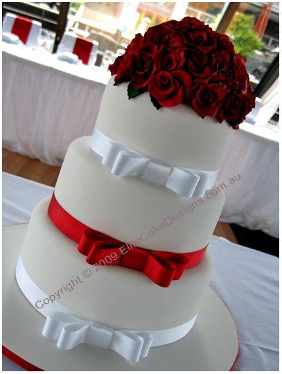 Red Roses Bouquet Wedding Cake Elegant Cakes Fl Sydney Modern
