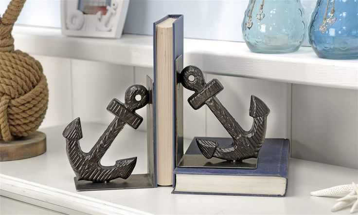 Black Iron Anchor Design Bookends set/2