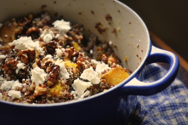 Red quinoa with acorn squash, goat cheese, candied nuts and orange ...