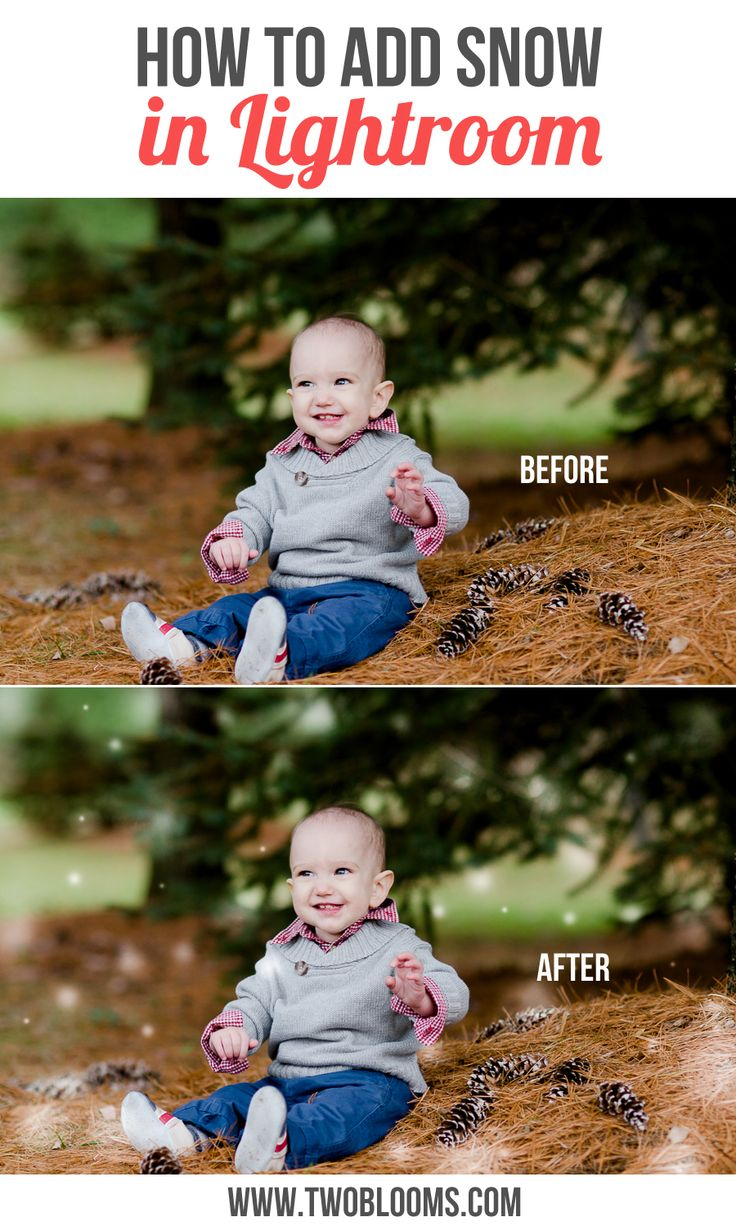 How to add snow in Lightroom [using the snow brushes from Two Blooms Lightroom Presets new Winter's Wish collection] | Two Blooms Lightroom Presets for Portraits. http://www.twoblooms.com/2014/11/21/add-snow-lightroom/