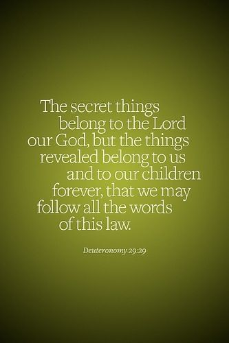 The secret things belong to the Lord...Deuteronomy 29:29 More at http://ibibleverses.com
