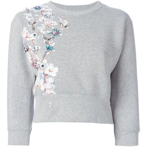 Philipp Plein Top of Sweatshirt (48,250 PHP) ❤ liked on Polyvore featuring tops, hoodies, sweatshirts, sweatshirt, sweaters, grey, sweatshirt crop top, grey crop top, embellished crop top and 3/4 sleeve crop top