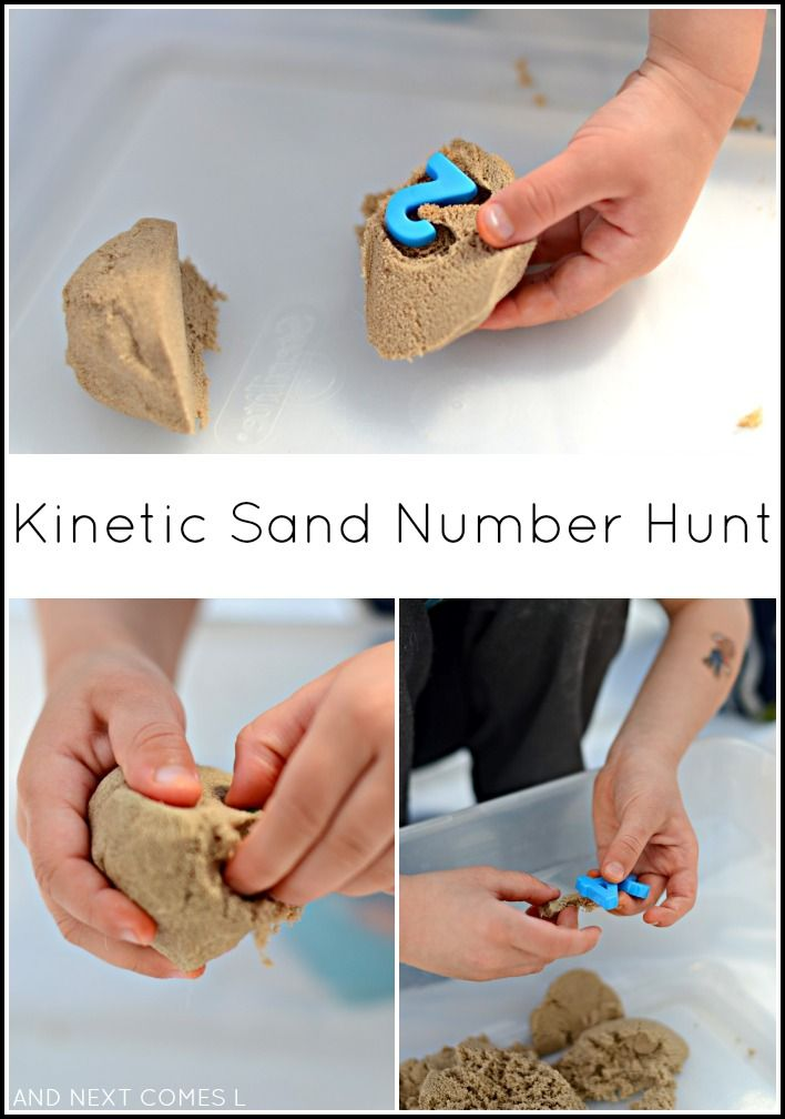 Kinetic sand number hunt - fine motor sensory play for toddlers and preschoolers from And Next Comes L