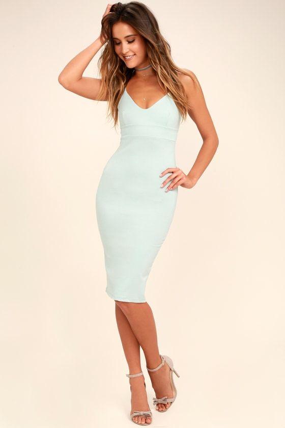2cf43f1fc137 Our Don t Tell  Em Light Blue Bodycon Midi Dress will be your best kept  secret