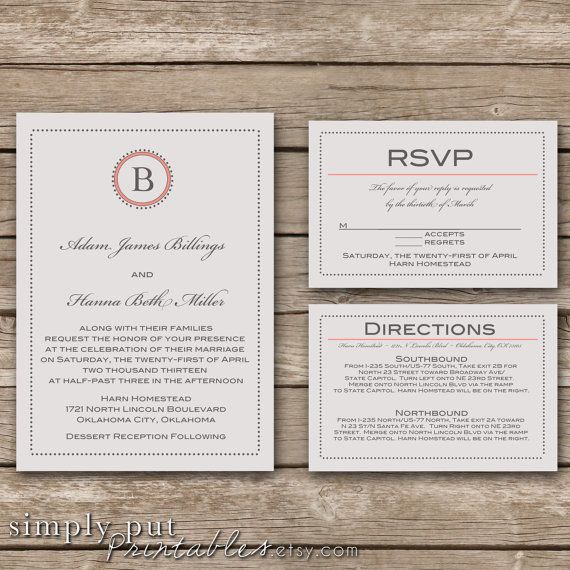 Wedding Invitation Suite | RSVP Card | Directions Card | Gray & Coral | Simple Wedding | Dots & Initial | Wedding Invitation Printable | DIY Wedding www.simplyputprintables.etsty.com