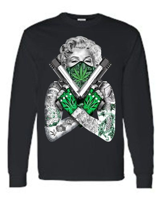 Unisex Tattoo Marilyn Crossed Guns Weed Bandana Long Sleeve T-shirt - http:/