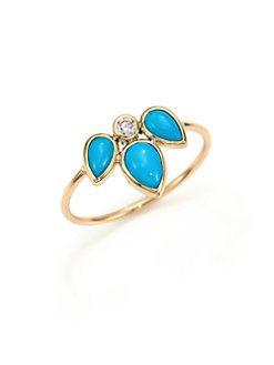 Zoe Chicco - Diamond, Turquoise & 14K Yellow Gold Ring