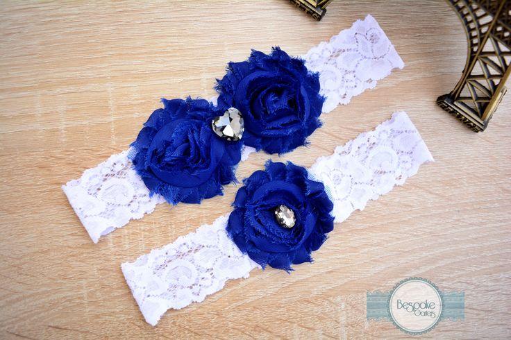 Bridal Garter, Something Blue Garter, Garter Set, Cobalt Blue Wedding Garter, Lace Wedding Garter, Lace Bridal Garter, Lace Garter, Garters by BespokeGarters on Etsy