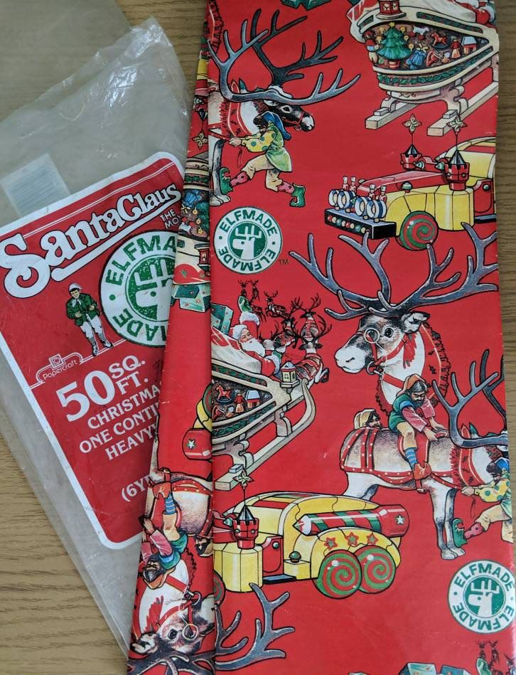 Vtg 80s Wrapping Paper from Christmas Movie Santa Claus